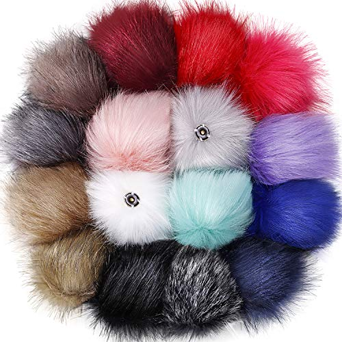 Tatuo DIY Faux Fur Pom Poms Ball with Press Button Removable Fluffy Pompom for Knitting Hats Shoes Scarves Bag Accessories (Colorful, 16)