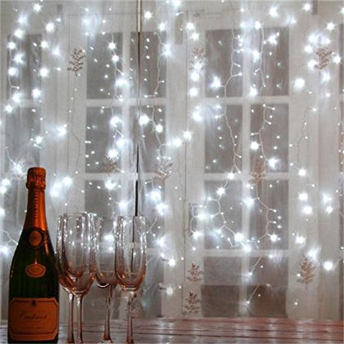 Kohree Led Light Curtain Icicle Lights 600led 9.8feet 8modes Cool White Christmas Curtain String ...