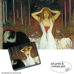 Gift Set: 1 Poster Art Print (47x31 inches) + 1 Mouse Pad (9x7 inches) - Edvard Munch, Ashes, 1894