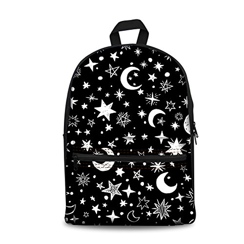 Instantarts Classic Black and White Moon Star Patterned Kids Backpack Schoolbag Daypack