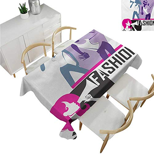 Angoueleven Teen Girls,Wholesale tablecloths,Composition of Girls Yelling into Megaphone Modern Stylish Fashion Themed Art,Fabric Print Tablecloth 60