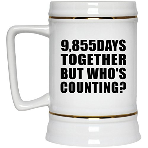 27th Anniversary 9,855 Days Together But Who's Counting - 22oz Beer Stein Ceramic Bar Mug Tankard - Gift for Wife Husband Wo-men Her Him Mother's Father's Day Birthday ()
