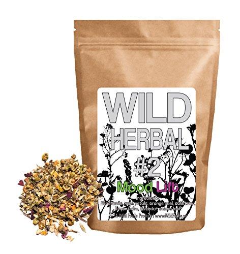 Wild Herbal #2 Mood Lift Tea Blend by Wild Foods - 7 Ingredient Tea with Chamomile, Rose, Lemon Balm, Lavender, Stevia, Oatstraw, Orange Peel, 100% Natural (4 ()