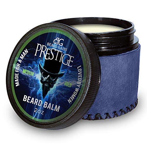 Beard Gains Prestige Luxury Mens Cologne Scented Beard Balm Conditioner - Medium Butter Hold - Made for A Man, Loved by Women (2oz)