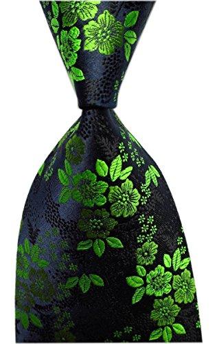 Secdtie Men's Green Black Tie Paisley Pattern 3.15