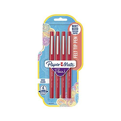 Paper Mate Flair Felt Tip Pens, Medium Point (0.7mm), Red, 4 Count