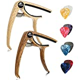 Finrezio 2 Pcs Classical Guitar Capos with 8 Pcs Guitar Picks for Acoustic Guitar (2 Pcs Wood Color)
