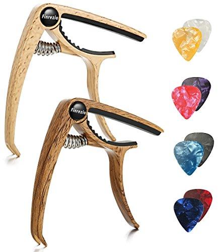 Finrezio 2 Pcs Classical Guitar Capos with 8 Pcs Guitar Picks for Acoustic Guitar (2 Pcs Wood Color)