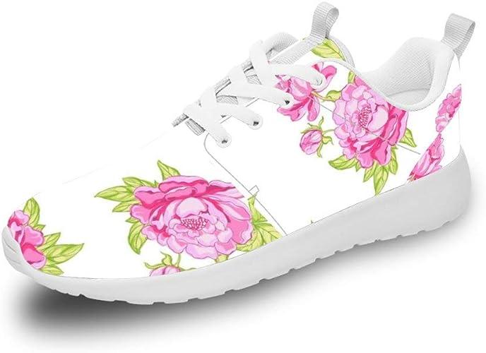 Mesllings - Zapatillas de Running Unisex con patrón de Rosas ...
