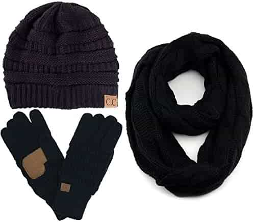 29948084529 ScarvesMe CC 3pc Set Trendy Warm Chunky Soft Stretch Cable Knit Beanie  Scarves Gloves Set