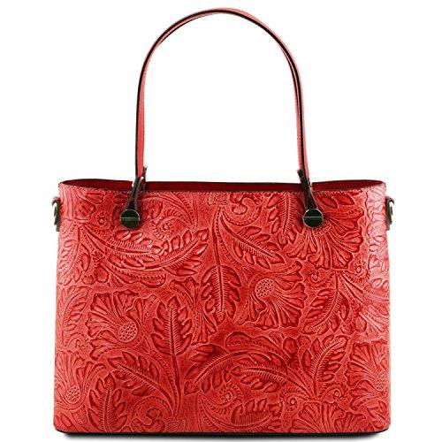 Tuscany Leather Atena Borsa shopping in pelle Ruga stampa floreale - TL141655 (Nude) Rosso Lipstick