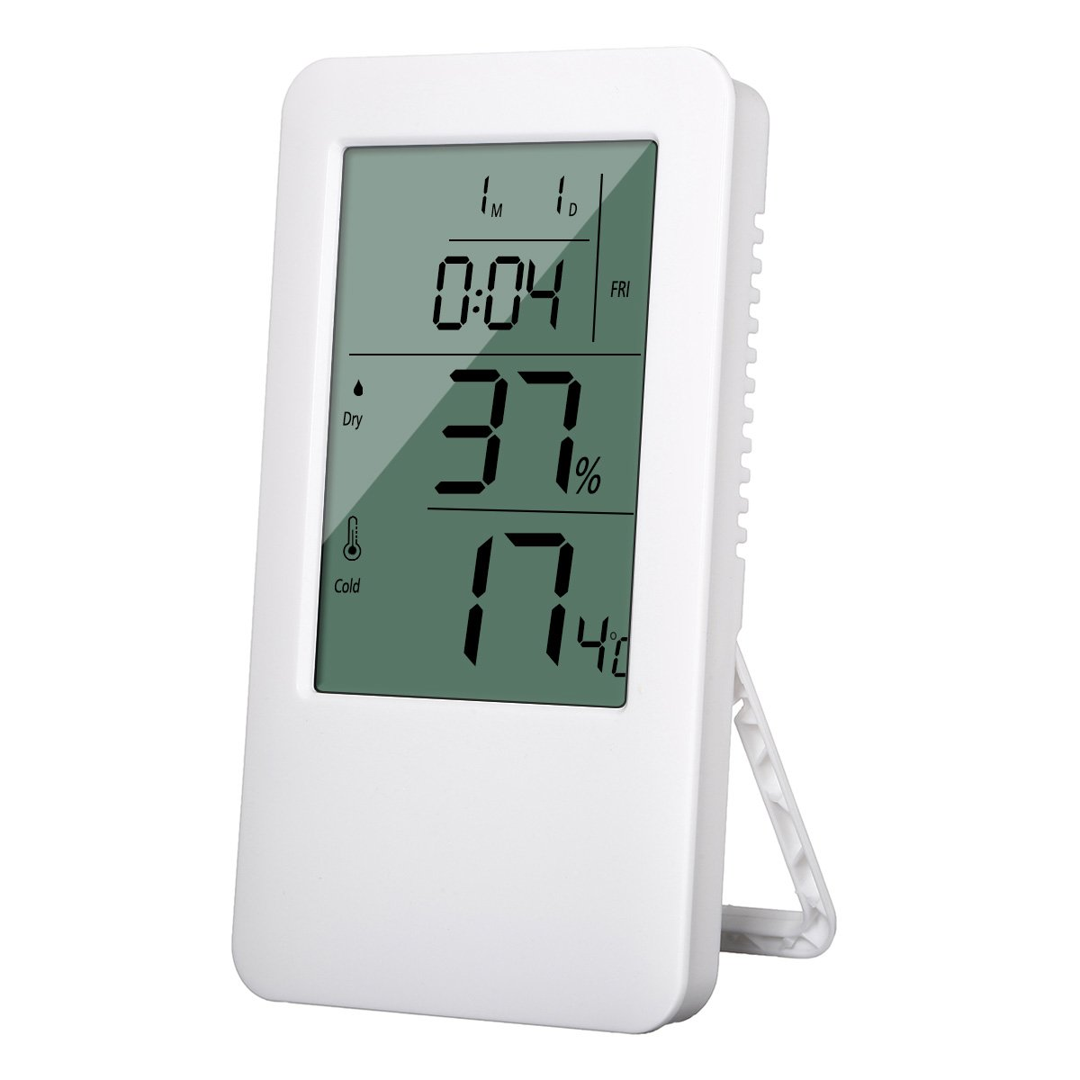 Digital Hygrometer Room Thermometer, SGODDE Large LCD Screen Voice Control Backlight Alarm Clock Humidity Gauge Indoor Temperature Humidity Monitor Sensor Humidity Meter