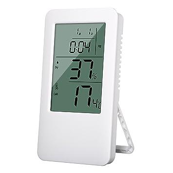 Termómetro Higrometro Digital, SGODDE LCD Digital Control de Clima Medidor de Humedad y Reloj Despertador