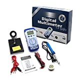 Digital Multimeter - Measures Voltage, Current, Resistance, Diode Function And More. 4 FREE BONUS: Soldering Iron 30W+ Stand+ Solder Wire+2 Crocodile Wire. From Professional-Technology