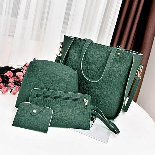 4Pcs Handbag Tassel vimbhzlvigour Green Lightweight Fashion Set Dark Bag Card Leather Women Gray Clutch Crossbody Faux fd0qT0