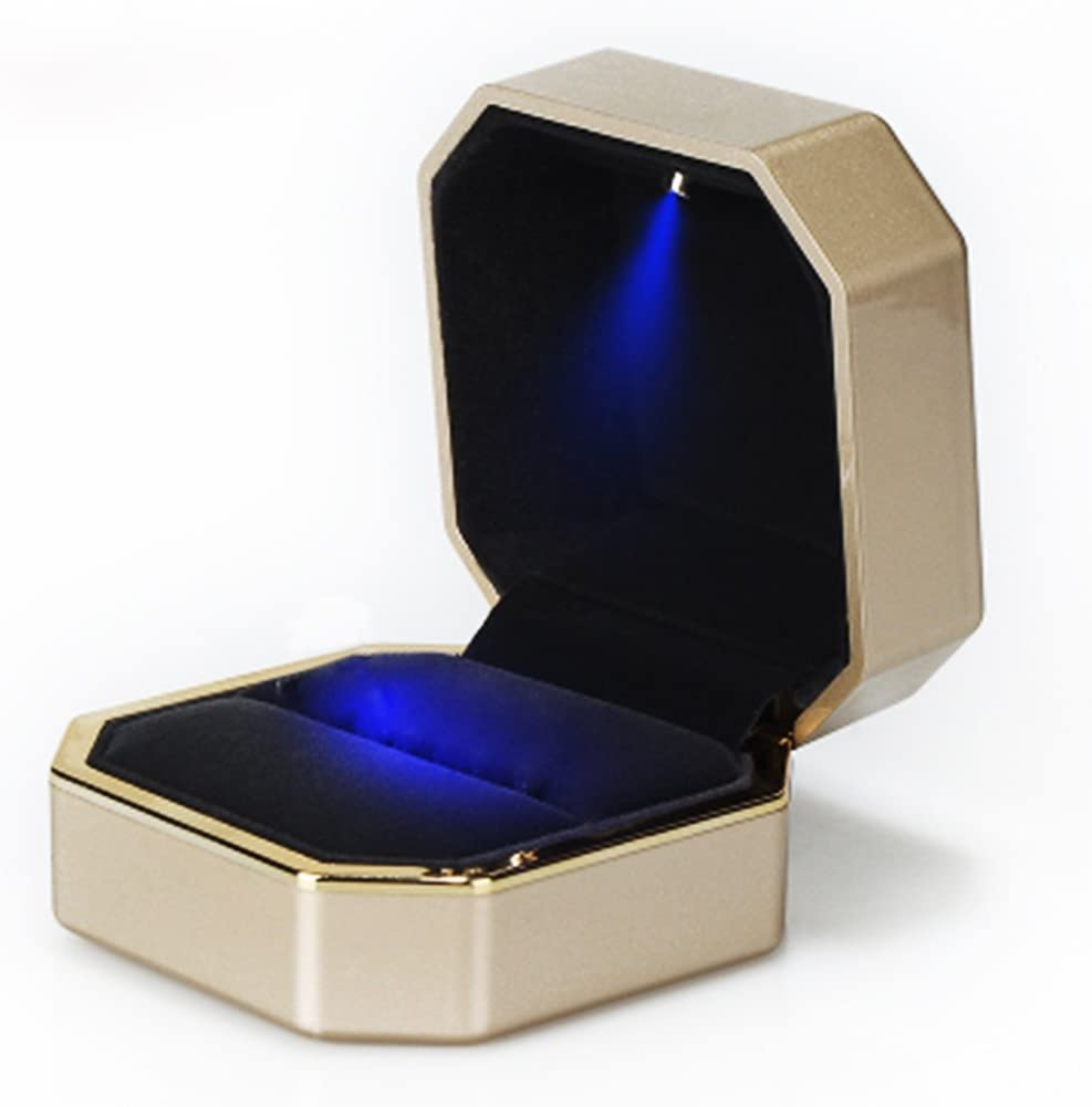 Charm Ring Box with LED Light Heart Shape Wedding Engagement Jewelry Case Well