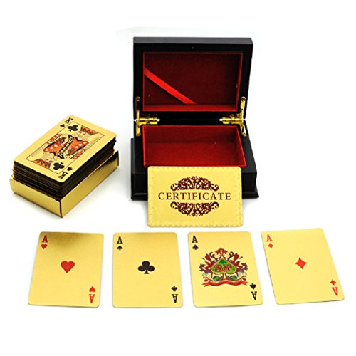 Best Price New Golden Color Poker Playing Cards With Wood Box and Certificate ...