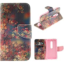 Moto G (3rd Gen) Case,Moto G3 Case,YiLin [Flower Color] - [Kickstand][Wallet][Card Slot][Flip][Slim Fit] Premium Protective Case for Motorola Moto G (3rd Gen)