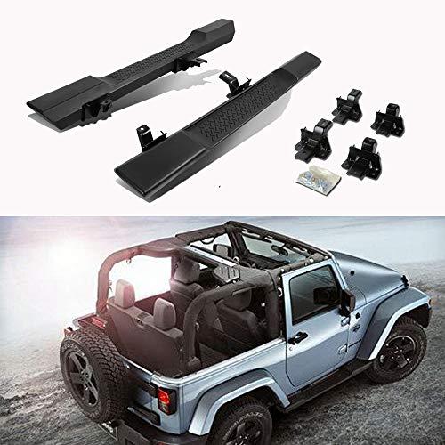 CDG 2PCS Premium Side Step Bars Running Boards for 2007-2017 Jeep Wrangler JK 2Door Texture Black OE Style Molded Nerf Bars (2007 2008 2009 2010 2011 2012 2013 2014 2015 2016 2017)