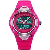 Jewtme Boys Girls Digital Analog LED Quartz Watch Waterproof Sports Wrist Watch Pink