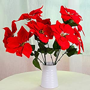 SHIJING Emulate Flowers 1 Bouquet 5 Head Poinsettia Posy Decorative Artificial Christmas Flowers Fake Pot Plants Home Decor LD 87