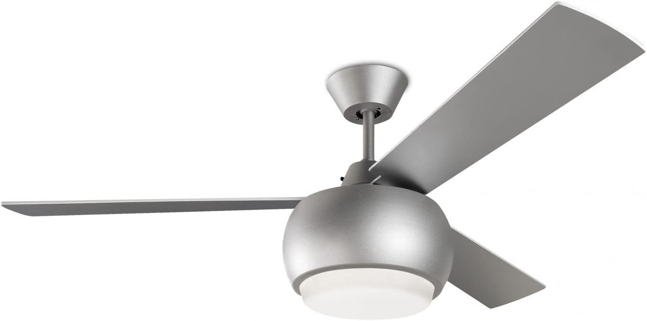 Ventilador de techo con luz y mando a distancia color níquel satinado 3 palas reversibles - Diseño MAURITIUS