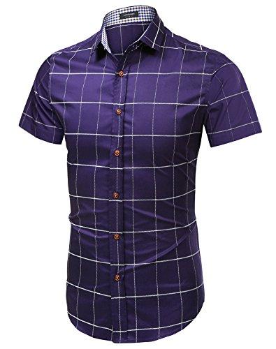 Coofandy Men's Casual Short Sleeve Plaid Button Down Fashion Dress Shirts ()