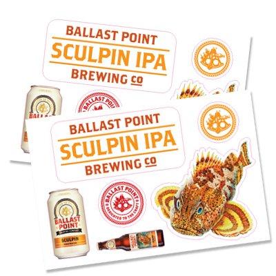 Ballast Point Brewing - Sculpin IPA - (1) Kiss Cut Sticker Sheet - 6 - Stores Hills Green At