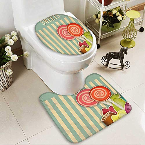SOCOMIMI Lid Toilet Cover Old Candy Store Chocolates Lollipops White Stripes on Baby Blue Backdrop Multicolor Personalized Durable
