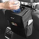 HOTOR Car Trash Can with Lid and Storage Pockets - 100% Leak-Proof Car Organizer - Waterproof Car Garbage Can - Multipurpose Trash Bin for Car - Black
