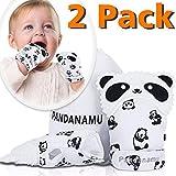 Baby Teething Mitten BPA-Free Panda Teething Mitts Infant Teether with Travel Bag(1 Pair)