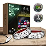 SLR Lighting TV Backlight Strips – Bias Lighting for Smart TVs, Plasma Screens, Big Screen Televisions, Computer Monitors – Includes Inline Switch, 25in. LED Strips & Dimmer Options – [Colored Strips]