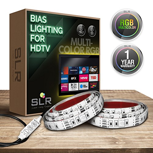 SLR Lighting TV Backlight Strips – Bias Lighting for Smart TVs, Plasma Screens, Big Screen Televisions, Computer Monitors – Includes Inline Switch, 25in. LED Strips & Dimmer Options – [Colored Strips] -