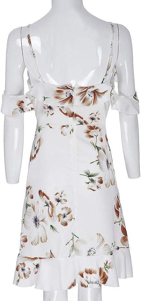 Mikilon Summer Dresses for Women Cold Shoulder Floral Mini Dress Spaghetti Strap Backless Ruffle Beach Dress