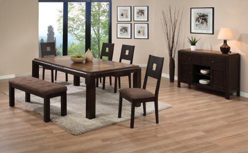 Price comparison product image Dining Table with Butterfly Leaf and 4 High Back Side Chairs and Bench in Walnut Grid Pattern AD 91620, 91621, 91622