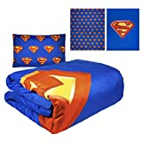 """JPI Comforter Set Twin - Superman Shield - Twin Bed 86""""x 68"""" Reversible Comforter with 1 Pillow Sham - Compliments Bed Sheet Set, Bed Skirt, Quilts Queen Size, Queen Bed Set, King Size Bed"""