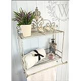 Shabby Chic Metal Scroll Shelf, Towel Rail Storage, Distressed Cream Unit by London Ornaments