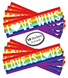 "Gay Lesbian Marriage Sticker - 10 Pack - 5 Love Wins and 5 Love is Love - Use on car bumper, computer, as wall decorations, or give as a gift. 11.5"" x 3"". Rainbow Pride Flag for LGBT, LGBTQ rights."
