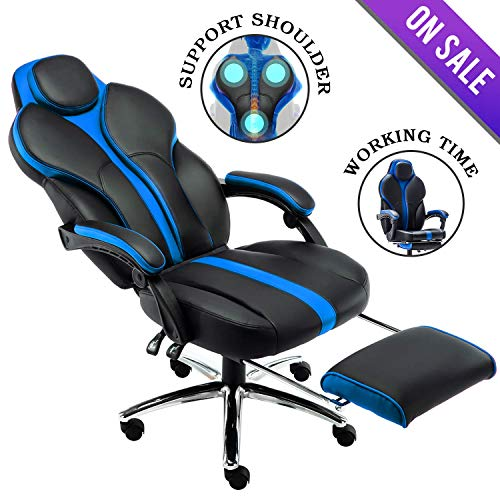 Kerms Gaming Chair Ergonomic High Back PU Leather Racing Style with Adjustable Armrest and Back Recliner Swivel Rocker Office Chair Black/Blue