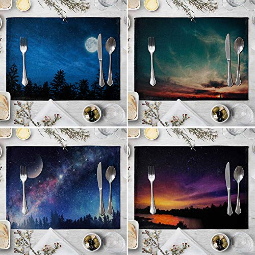 memorytime Night Starry Sky Linen Placemat Kitchen Dining Table Mat Bowl Pad Coaster Decor Kitchen Dining Supplies - 9# by memorytime (Image #3)