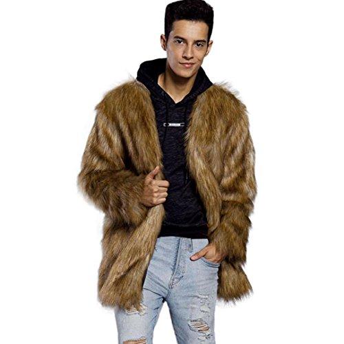 - WM & MW Fashion Men's Waistcoat Winter Warm Long Sleeve Open Front Brown Faux Fur Outerwear Cardigan Coat Punk Jacket Overcoat (XL=(US:L), Brown)