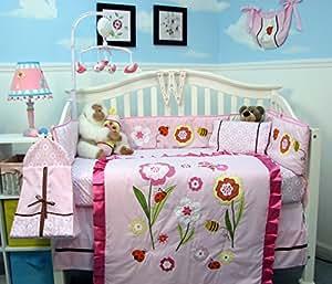 SoHo Once Upon a Garden (pink) Baby Crib Nursery Bedding Set 14 pcs
