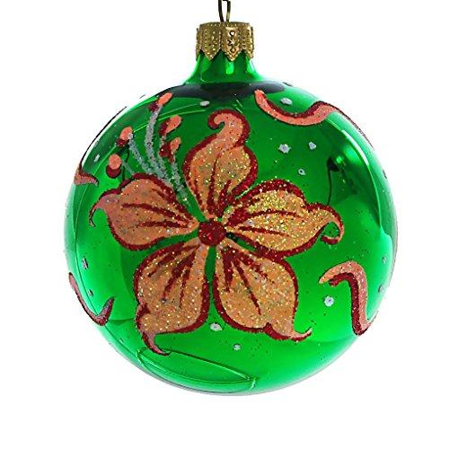 HolidayGiftShops Iris Hand Painted Glass Christmas Ornament (Green, Glossy). ()