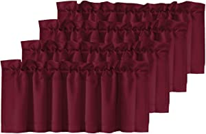 Home Fashion Curtain Valance Room Darkening Solid Curtain Valances, 52-inch by 18-inch, Set of 4 Pack, Burgundy