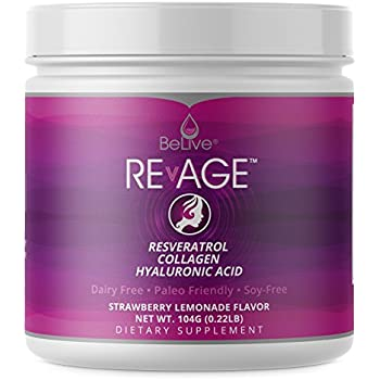 Collagen Peptides Hydrolysate Proteins Powder - with Resveratrol, Hyaluronic Acid, Vitaberry| Paleo Friendly, Grass Fed, and Antioxdiant Boost | Strawberry ...