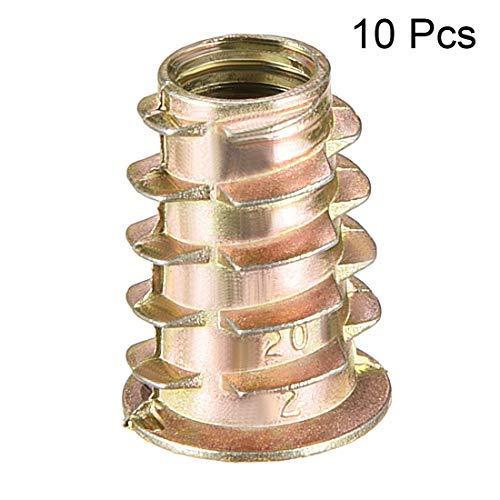 10pcs M8x20mm Threaded Insert Nuts Zinc Alloy Hexagonal M8 Internal Threads 20mm Length