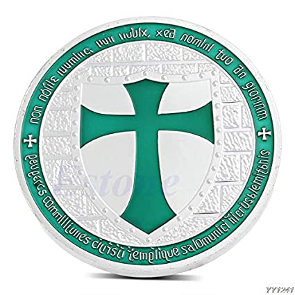 Coin Token - 1pc Silver Plated Knights Templar Europe Cross Token