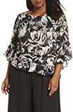Alex Evenings Women's Plus Size Asymmetric Tiered Chiffon Blouse Shirt, Black/Rose Floral 3X