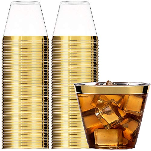 LARRY SHELL 100Pcs Gold Rimmed Plastic Cups Clear Plastic Hard Tumblers Fancy Wedding Tumblers Disposable Party Elegant Decoration Wedding Champagne Cups - 9 Oz