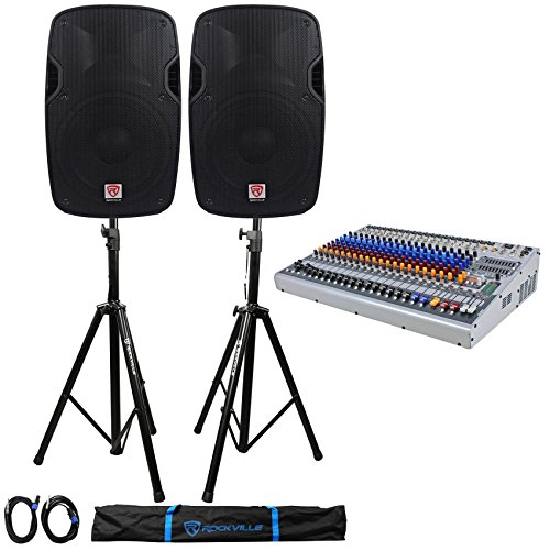 Package: Peavey XR1220 20 Channel Console Style Mixer W/Dual 600W Class ''D'' Amps+4-band Equalizer on Each Channels+(2)Lightweight DJ/PA Speakers+(Pair)Pro PA Speaker Stands+(2)Cables+Carrying Case by Peavey